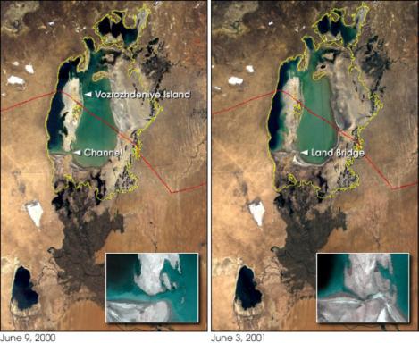 l'île où se situe kantubek finit par être en communication directe avec la terre environnante en 2001 suite à l'assèchement de la mer d'Aral